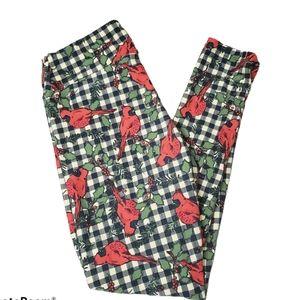 LuLaRoe OS cardinal checkboard bird leggings